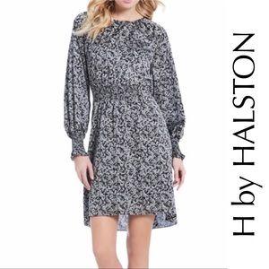 H By Halston NWT Smocked Gray Leaf Print Dress, S